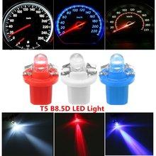 1Pcs/10Pcs 12V Car Transparent Bulb T5 B8.5D Panel 1LED Roun