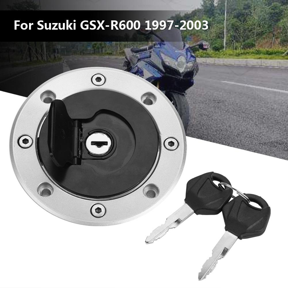 For Suzuki GSXR//600//750//1000//Hayabusa CNC Gas Fuel Cap Cover 2 Keys Motorbike