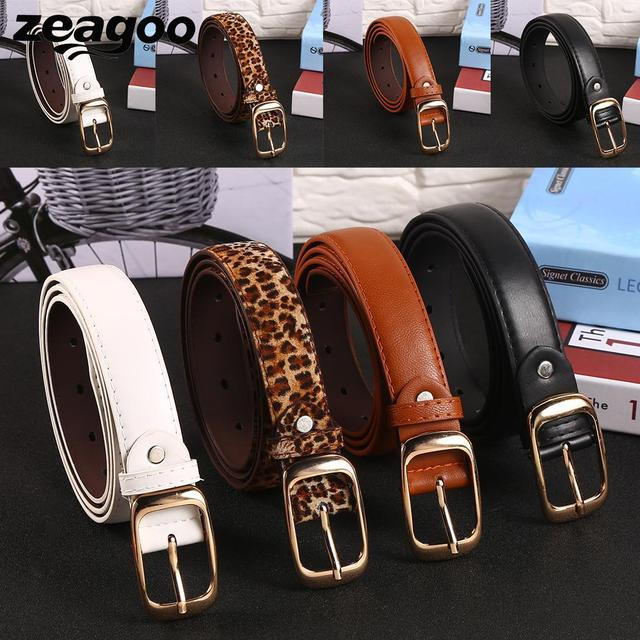 zeagoo Women\'s faux leather belts Metal Girls Black White Brown Leopard Accessories