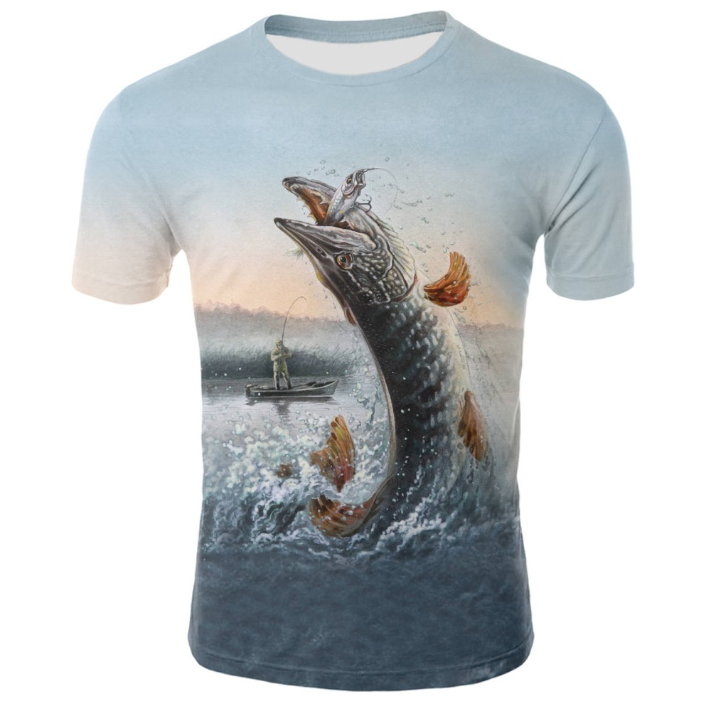 2019 new men leisure 3d printing   t     shirt  , funny fish pattern printed men's and women's tshirt Hip hop   T  -  shirt   print   t  -  shirt
