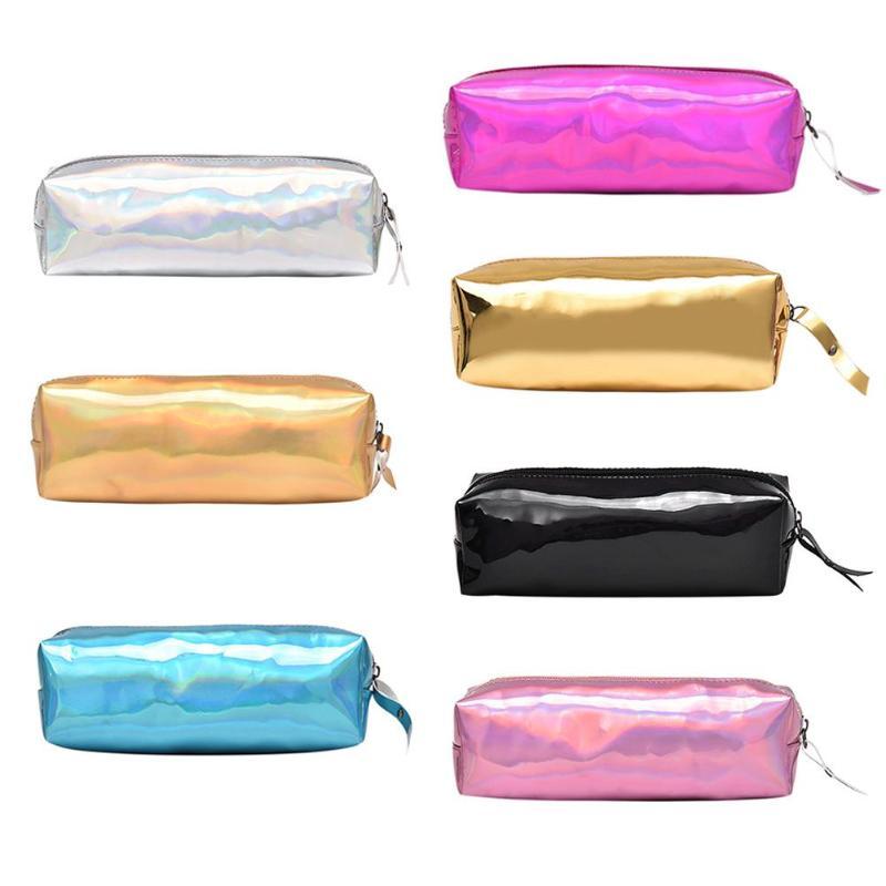 1pcs Purse Pencil Case School Bag New Fashion Metallic Color Holographic Hologram Portable Laser Purse Makeup Bag School Supplie