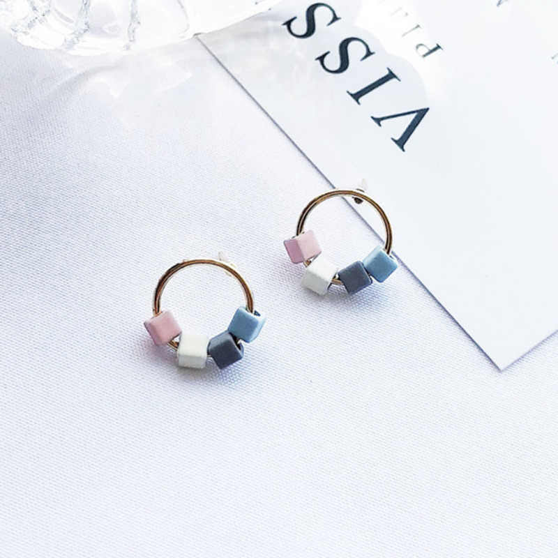 New Korea Temperament Sweet Small Fresh Splice Candy Color Square Block Metal Circle Stud Earrings For Women Jewelry Accessories