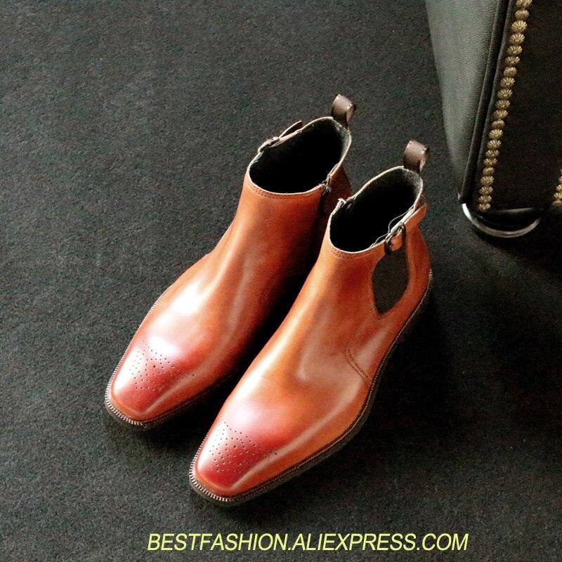 Style européen de luxe sur mesure Chelsea bottes mode bout carré marron bottine rétro en cuir véritable bottes courtes hommes