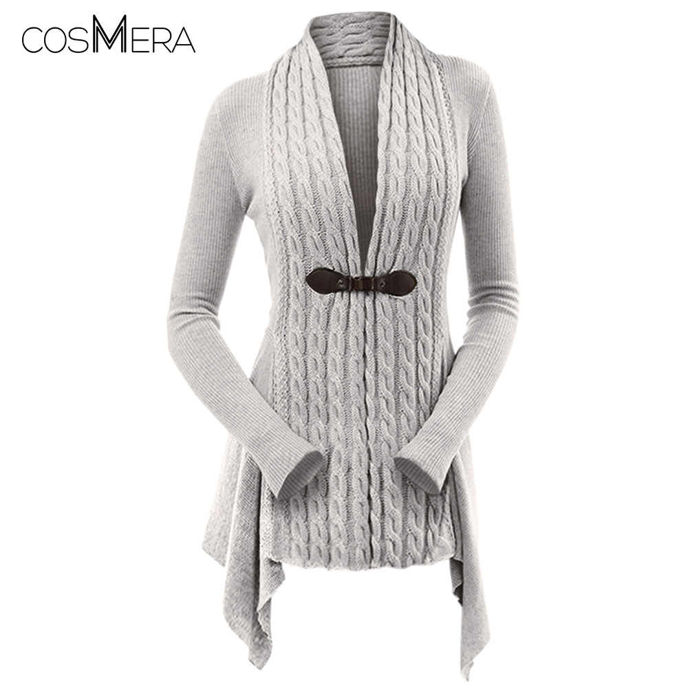 CosMera Cable Knit Buckle Asymmetrical Cardigan Women V Neck Long Sleeve  Long Cardigan Femme Casual Knitted a9d36f098