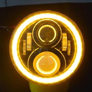 "Image 4 - 7"" Inch H4 LED moto Headlight For Harley Davidsion Softail Slim Fat Boy 7inch Halo Angel Eye DRL Led Motorcycle Headlamp"