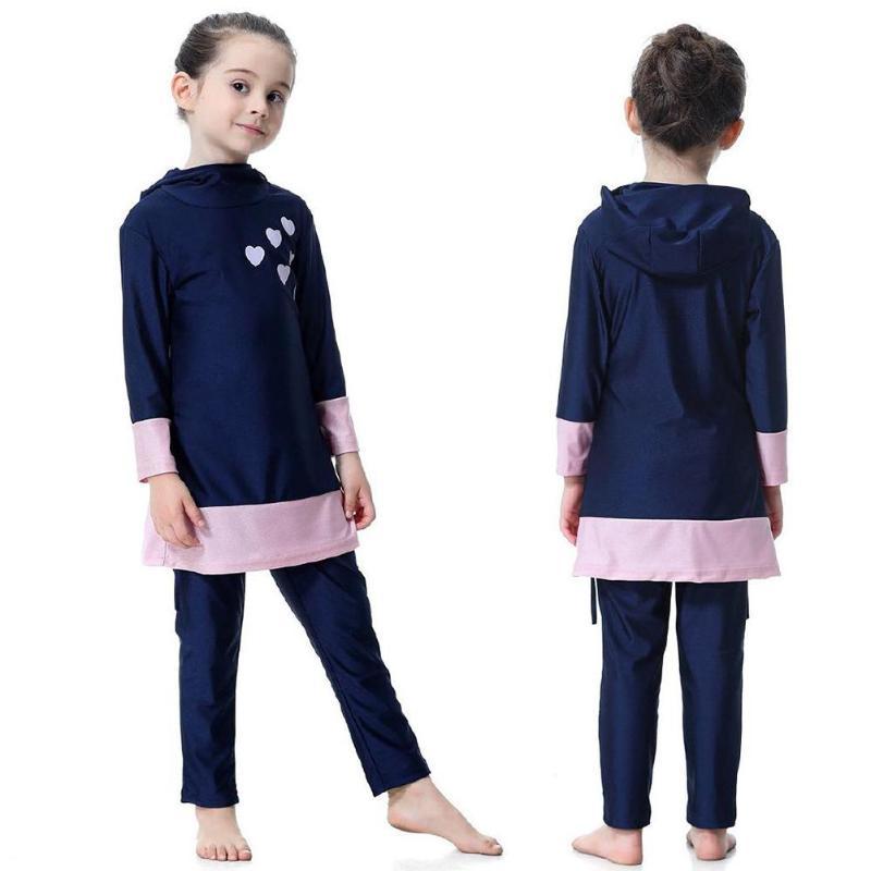 Image 2 - Kids Girl Muslim Swimwear Arab Islam Long Sleeve Two Piece Hoodie SwimsuitChildrens Two-Piece Suits