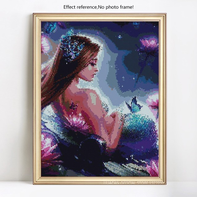 HUACAN Diamond Embroidery Full Display Portrait Full Square Picture Rhinestones 5D DIY Diamond Painting Mermaid Decor