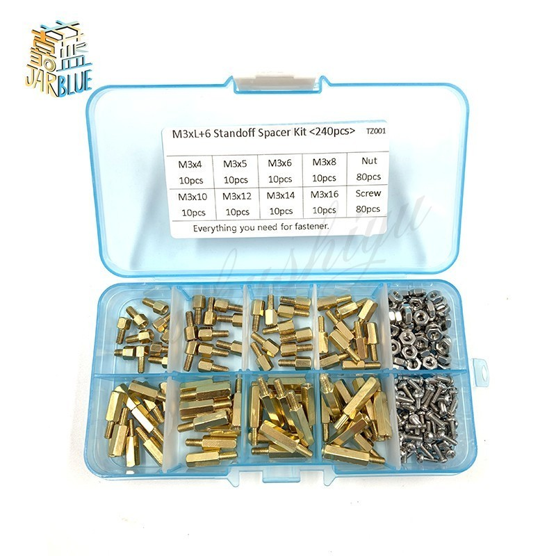 240pcs/set M2*l+<font><b>3mm</b></font> M2.5/<font><b>m3</b></font>*l+6mm Hex Nut Spacing <font><b>Screw</b></font> Brass Threaded Pillar Pcb Motherboard Standoff Spacer Kit image