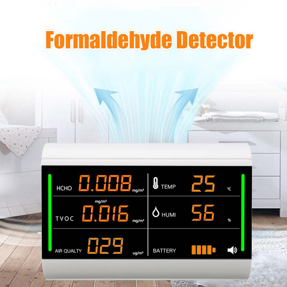 Formaldehyde Testing Tool Home Air Quality Detector Tester Digital Screen USB  TVOC HCHO Benzene/Dust/Temperature/Humidity MeterFormaldehyde Testing Tool Home Air Quality Detector Tester Digital Screen USB  TVOC HCHO Benzene/Dust/Temperature/Humidity Meter
