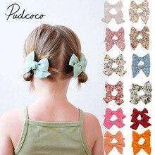 Летняя одежда для малышей комплект из 2 шт./компл. подростков большие заколки для волос с бантом, Заколки для волос детский малышовый комплект для маленьких девочек; повязка на голову из хлопка, 14 цветов
