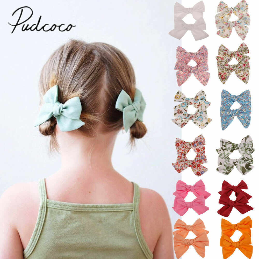 2019 Baby Summer Clothing 2Pcs/Sets Teens Big Hair Bows Knot Hair Clips Girls Kids Toddler Cotton Headband Wholesale 14 Colors