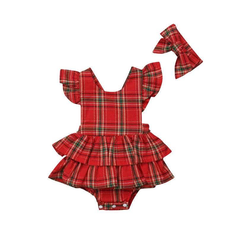 Baby Girls Christmas Outfit Newborn Clothes Bodysuit Red Plaid Cotton Xmas Sleeveless Backless Ruffle Bodysuits Bow Headband
