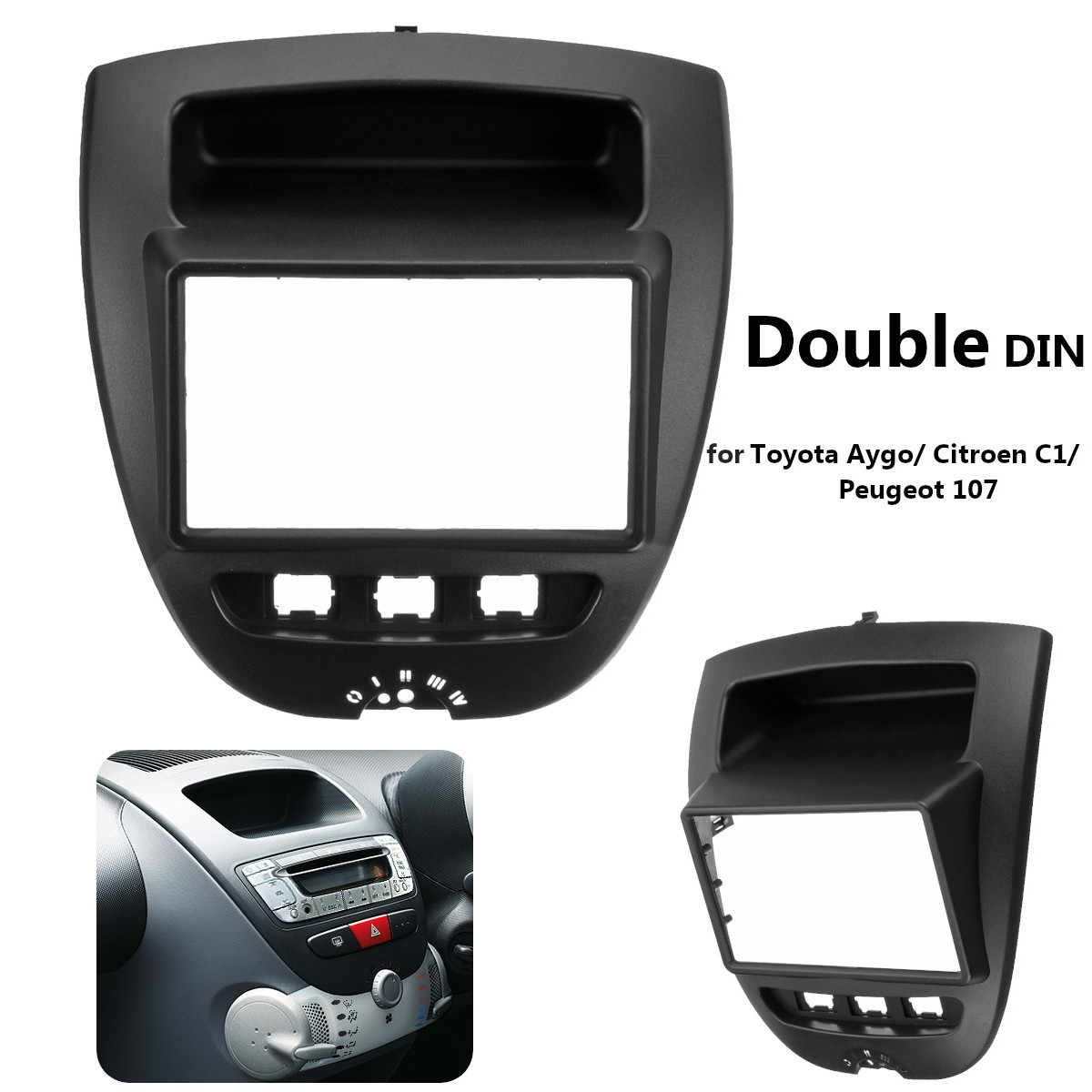 2 Din Car Stereo Radio Fascia Panel Plate Frame CD Panel Dashboard Audio Frame for Toyota Aygo for Citroen C1 for Peugeot 107
