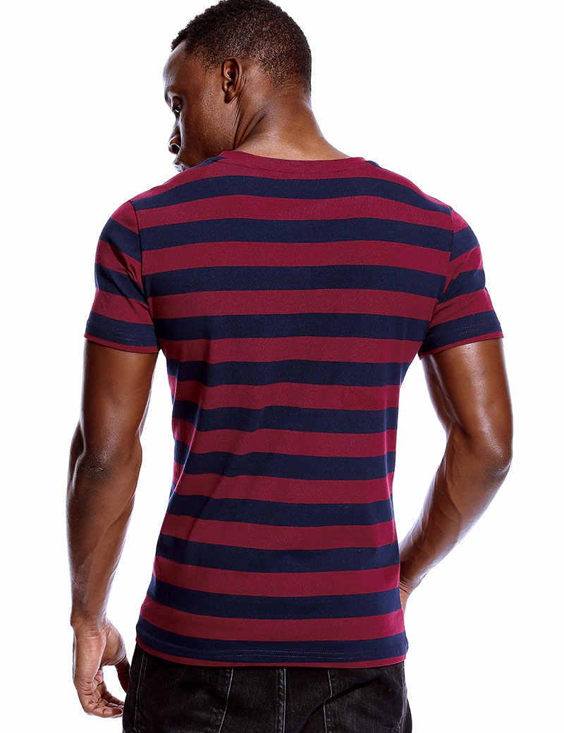ストライプ Tシャツのための男性であってもストライプシャツ男性トップティーズ黒と白、青半袖 O ネックコットン tシャツユニセックス
