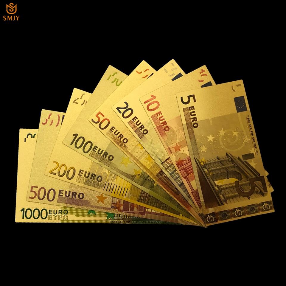 8 Pçs/lote Cor 24K Ouro Conjunto 5.10.20.50.100.200.500.1000 Da Folha de Ouro de Notas de Euro Dinheiro Para O Natal E Presentes do Negócio