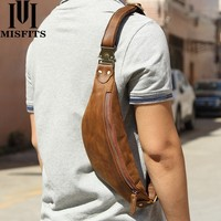 MISFITS cow leather men messenger bag fashion waist pack for cell phone male crazy horse leather chest bag small shoulder bags