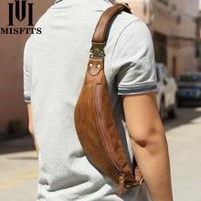 Misfits bolsa de cintura masculina de couro, bolsa pequena de couro de vaca para celular sacos de sacos
