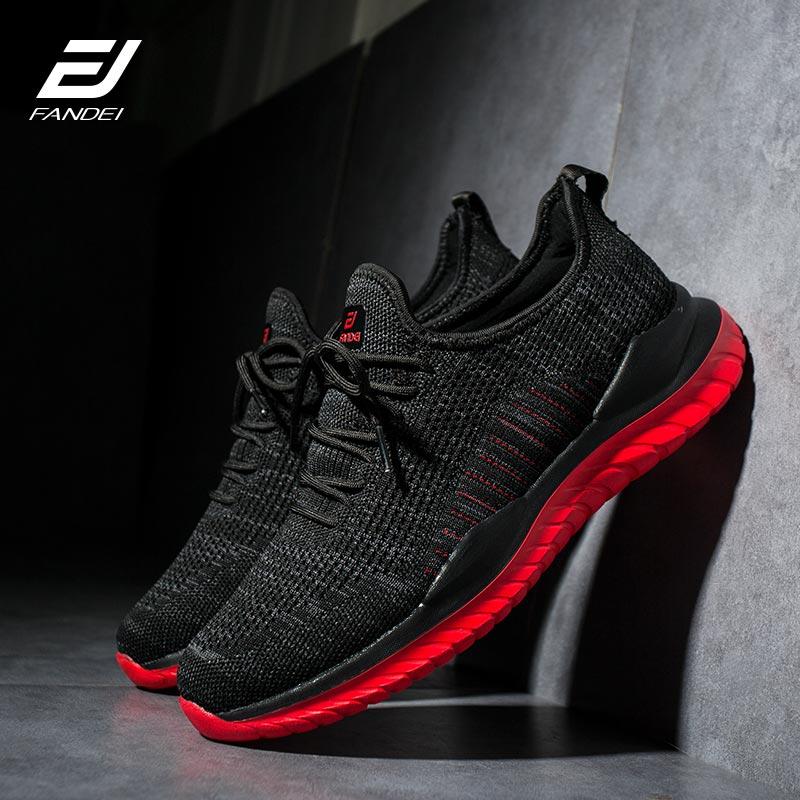 FANDEI Running Shoes For Men Zapatillas Hombre Deportiva Sport Shoes Men Light Sneakers Sport Shoes Men Flyknit Upper Non-Slip