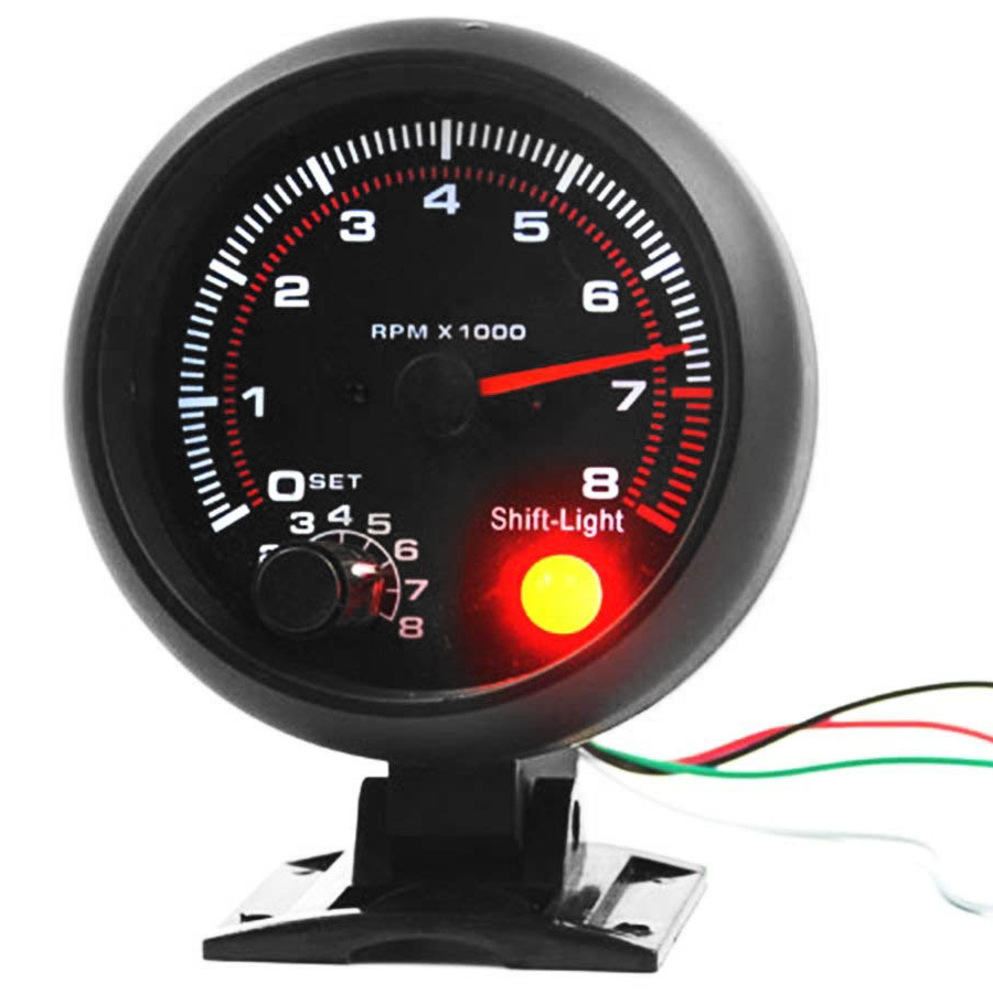 Universal 3.75 inch 12V White LED Backlit Tachometer Gauge with Red Shift Light for Auto Gasoline Car, 0-8000 RPMUniversal 3.75 inch 12V White LED Backlit Tachometer Gauge with Red Shift Light for Auto Gasoline Car, 0-8000 RPM