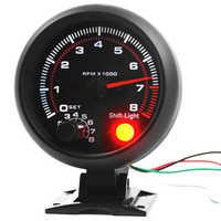 Universal 3.75 inch 12V White LED Backlit Tachometer Gauge with Red Shift Light for Auto Gasoline Car, 0-8000 RPM