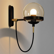 Nordic LED Wall Lamp Modern Garden Gate Wall Lights  Black/Copper Glass Ball Wall Lamp Stair Light  Luminaire Lighting недорого