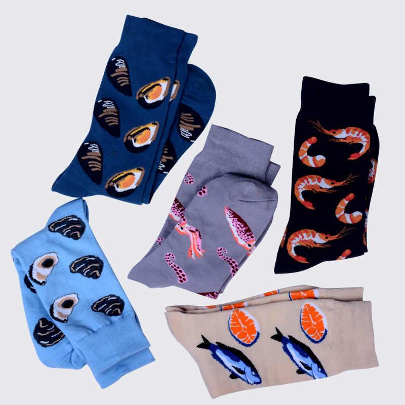 Männer Socken Lustige Cartoon Octopus Garnelen Meeresfrüchte Bunte Glückliche Harajuku Persönlichkeit Hip Hop Street Style Männliche Skate Baumwolle Socken