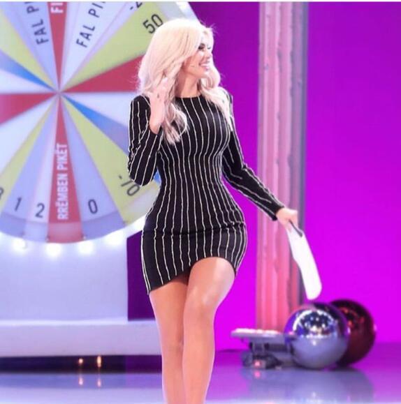 Sexy femmes moulante Mini robe Top qualité à manches longues cristal mignon célébrité Bandage robe