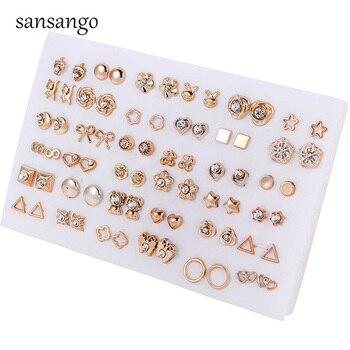 Женские серьги-гвоздики с кристаллами в форме сердца, 36 пар/упак., для девушек, в офисном стиле, для пирсинга, Золотые сережки с цветами, Пряма...