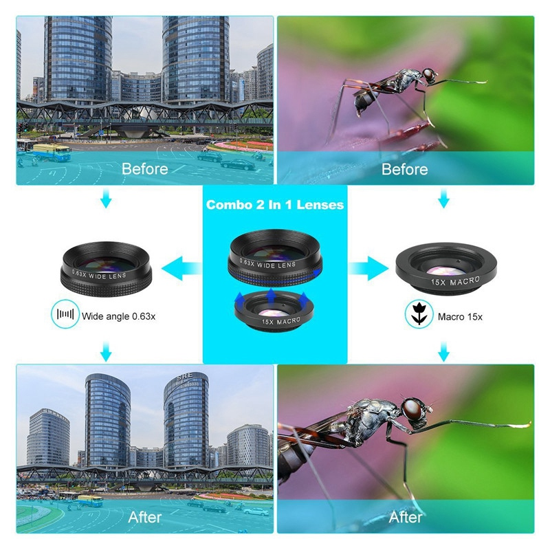 Image 5 - 4 In 1 Phone Lens 0.63X Wide Angle Macro Fish Eye Telephoto Zoom Lens For Samsung S8 S9 Plus Phone Camera Lens Kit-in Camera Lens from Consumer Electronics