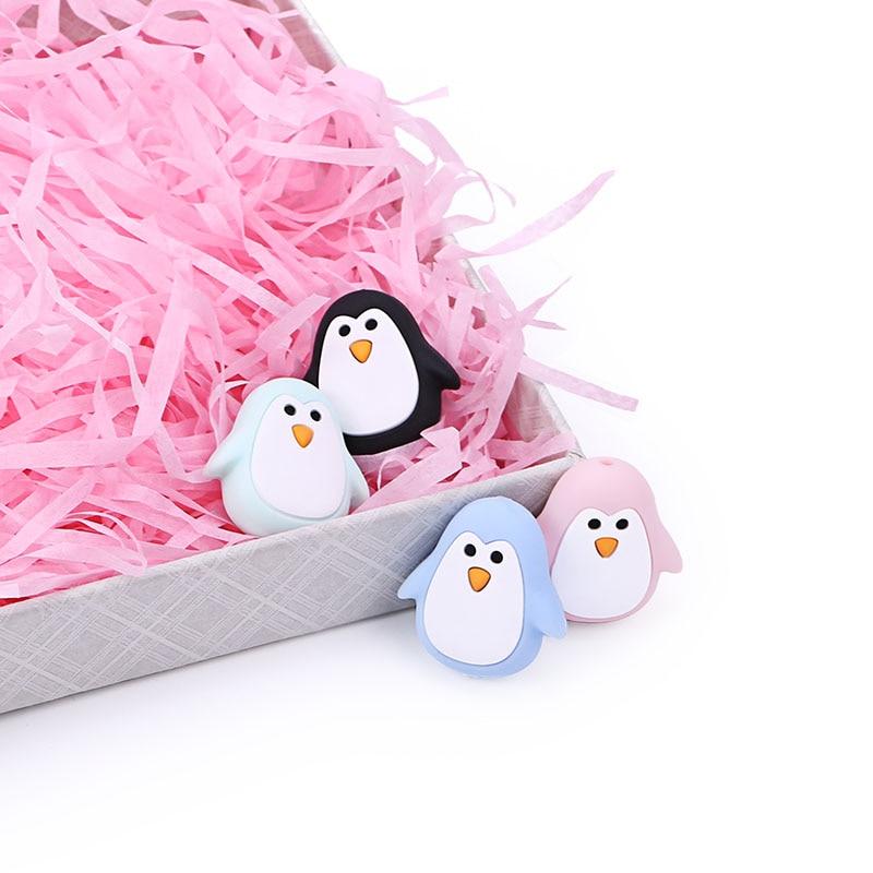 Купить с кэшбэком Chenkai 50PCS Silicone Penguin Teether Beads DIY Baby Animal Cartoon Chewing Pacifier Dummy Sensory Jewelry Toy Making Bead