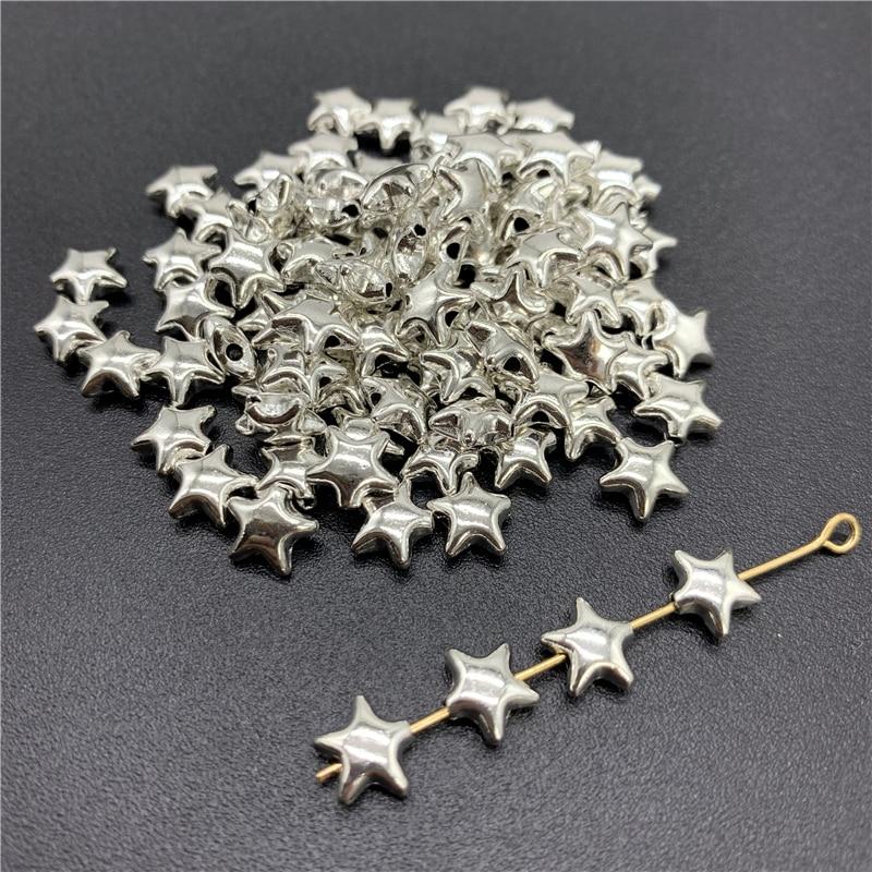50 шт 6х6 мм Сплав Бусины колпачок древние серебряные амулеты подвеска в форме звезды Подвески для самостоятельного изготовления ювелирных и...