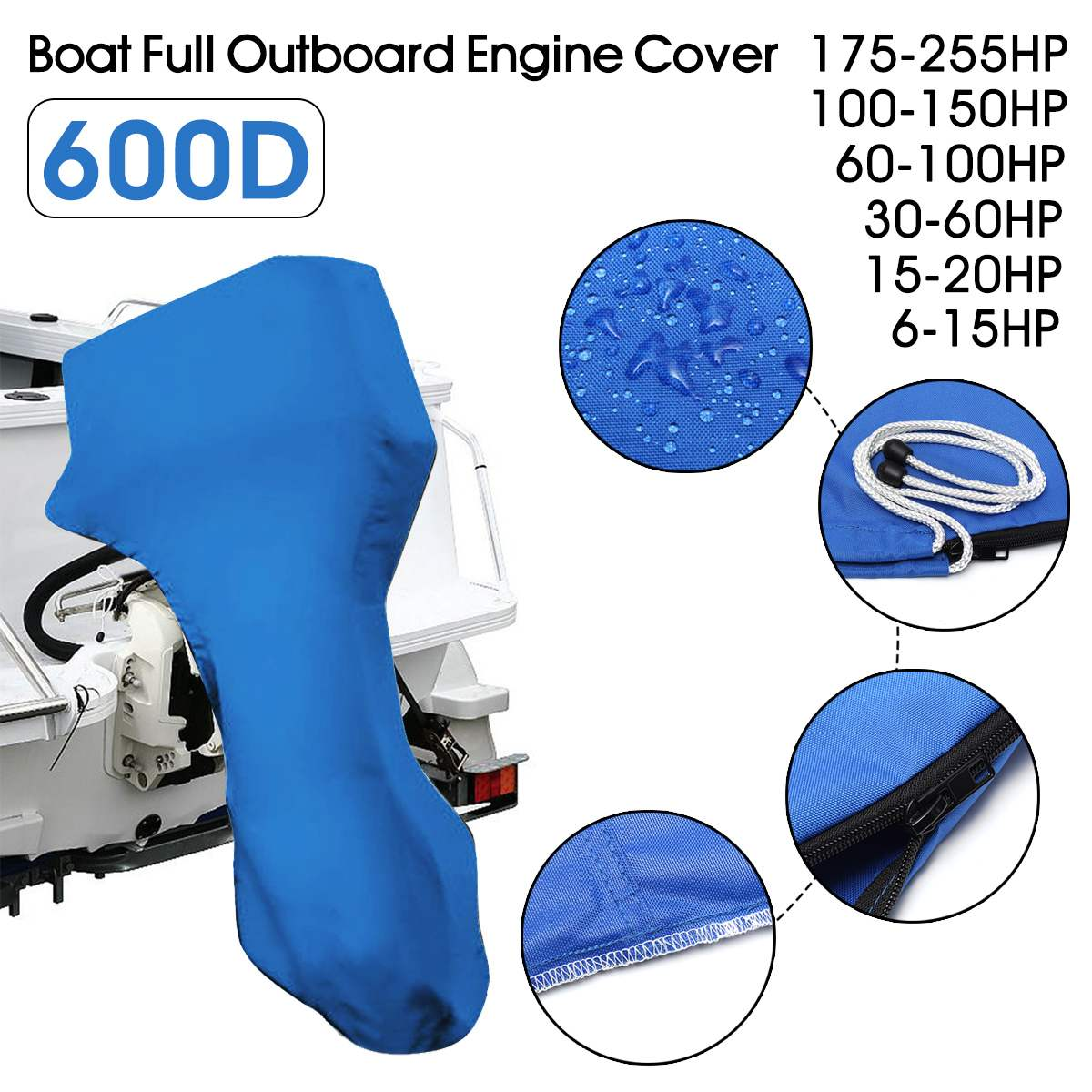 600D Boat Full Outboard Engine Cover Blue Engine Motor Covers Protector For 6-225HP Waterproof