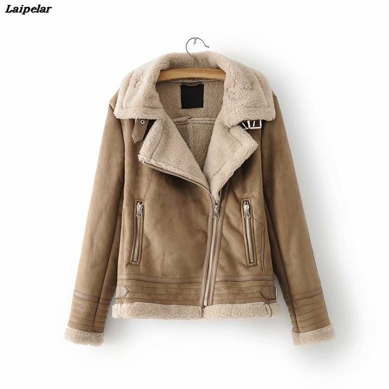 Women Long Sleeve Faux Leather Jacket Casual Faux Lamb Fur Inside Warm Outerwear Winter Zippers Turn