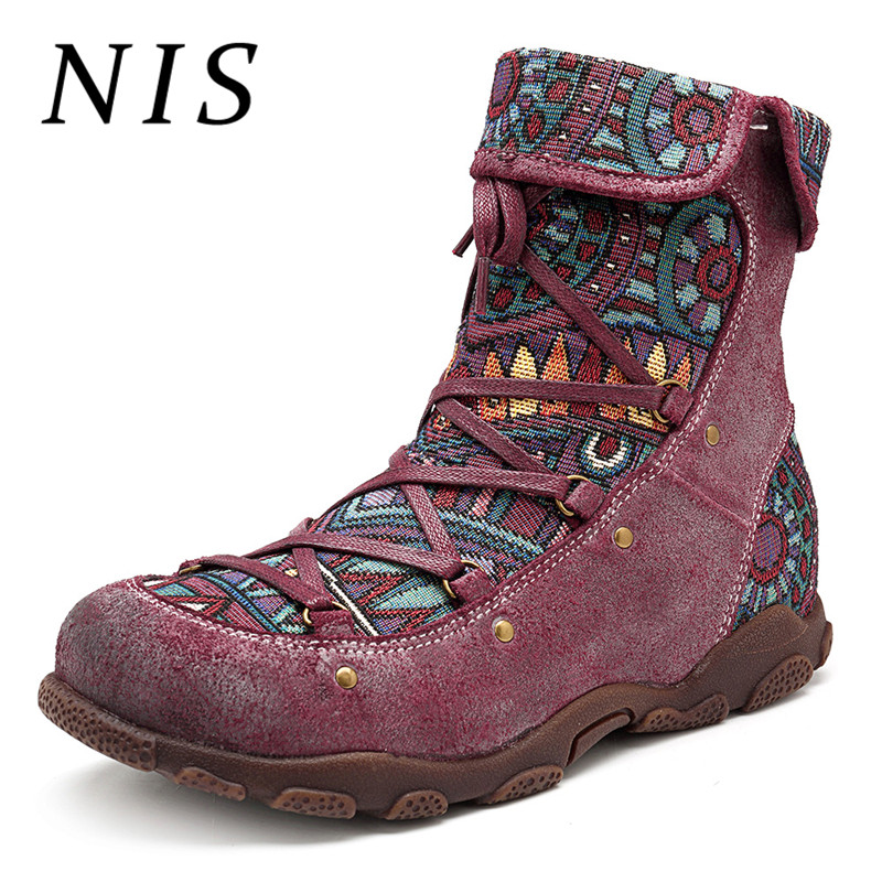 NIS Bohemian Vintage Motorcycle Ankle Boots For Women Spring Autumn Socofy Genuine Leather Retro Ladies Shoes