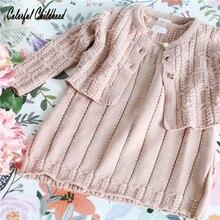 Adorable baby girls dresses autumn cotton knitting long sleeve 2pc set toddler baby girls clothing princess costumes vestidos be