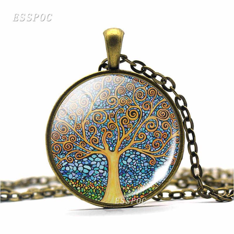 แฟชั่นชีวิตต้นไม้สร้อยคอจี้ VINTAGE Bronze CHAIN สร้อยคอเครื่องประดับแก้ว Cabochon สร้อยคอผู้หญิงผู้ชาย