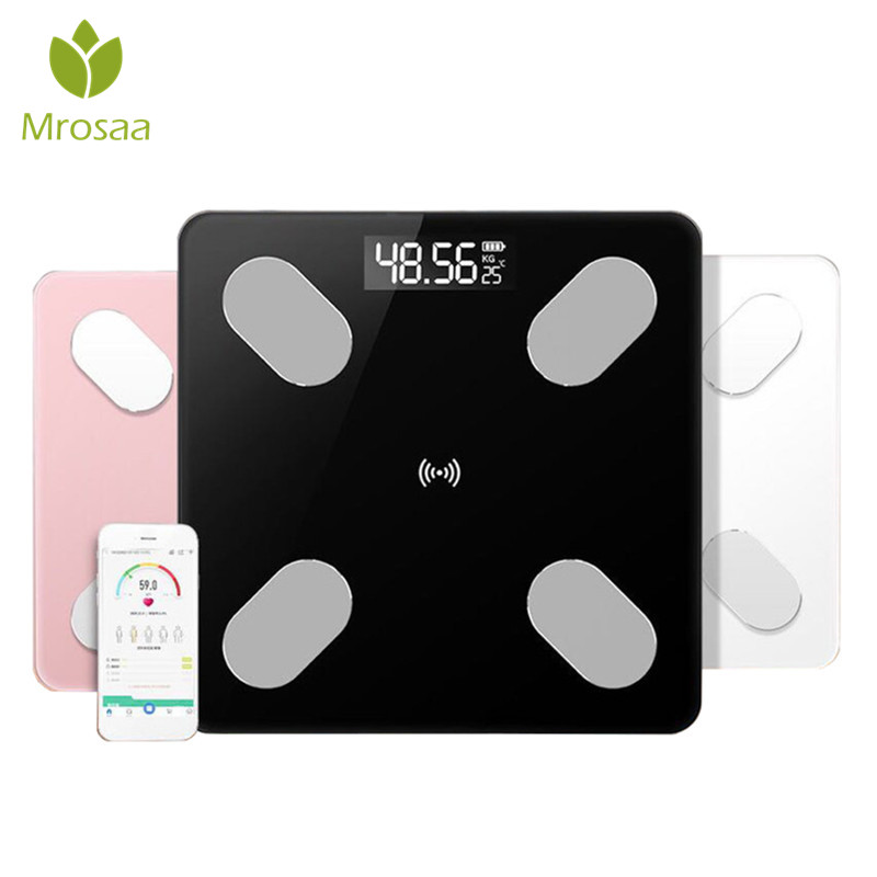 Mrosaa Bathroom Body Fat Scale Floor Scales Scientific Smart Electronic LED Digital Weight Balance Bluetooth APP for Android IOS(China)