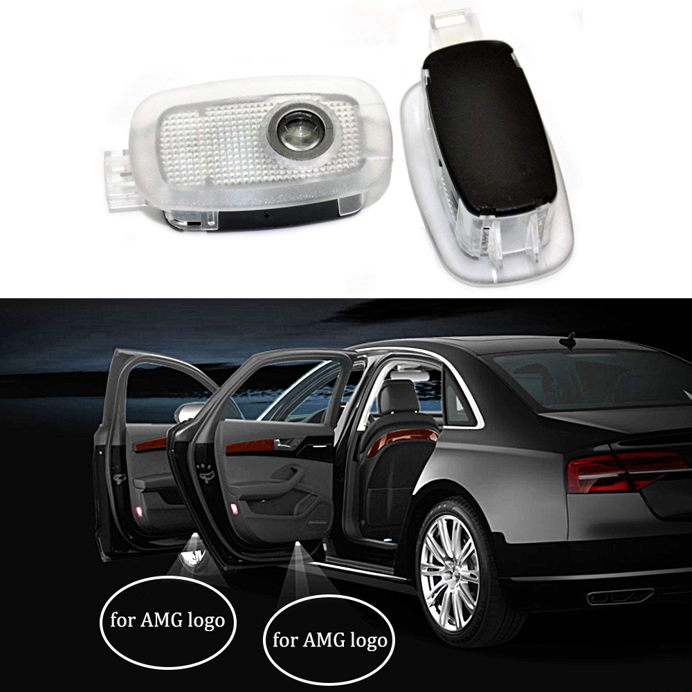 2-10pcs For AMG Logo Car Door Emblem Ghost Shadow Light For <font><b>Mercedes</b></font> Benz AMG S Class W216 W211 <font><b>S500</b></font> Welcome Laser Projector image