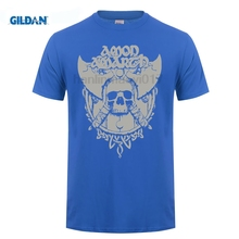 GILDAN Amon Amarth Grey Skull Mens Black T-Shirt, New T Shirt Casual Short Sleeve For Men  Summer Cartoon Character