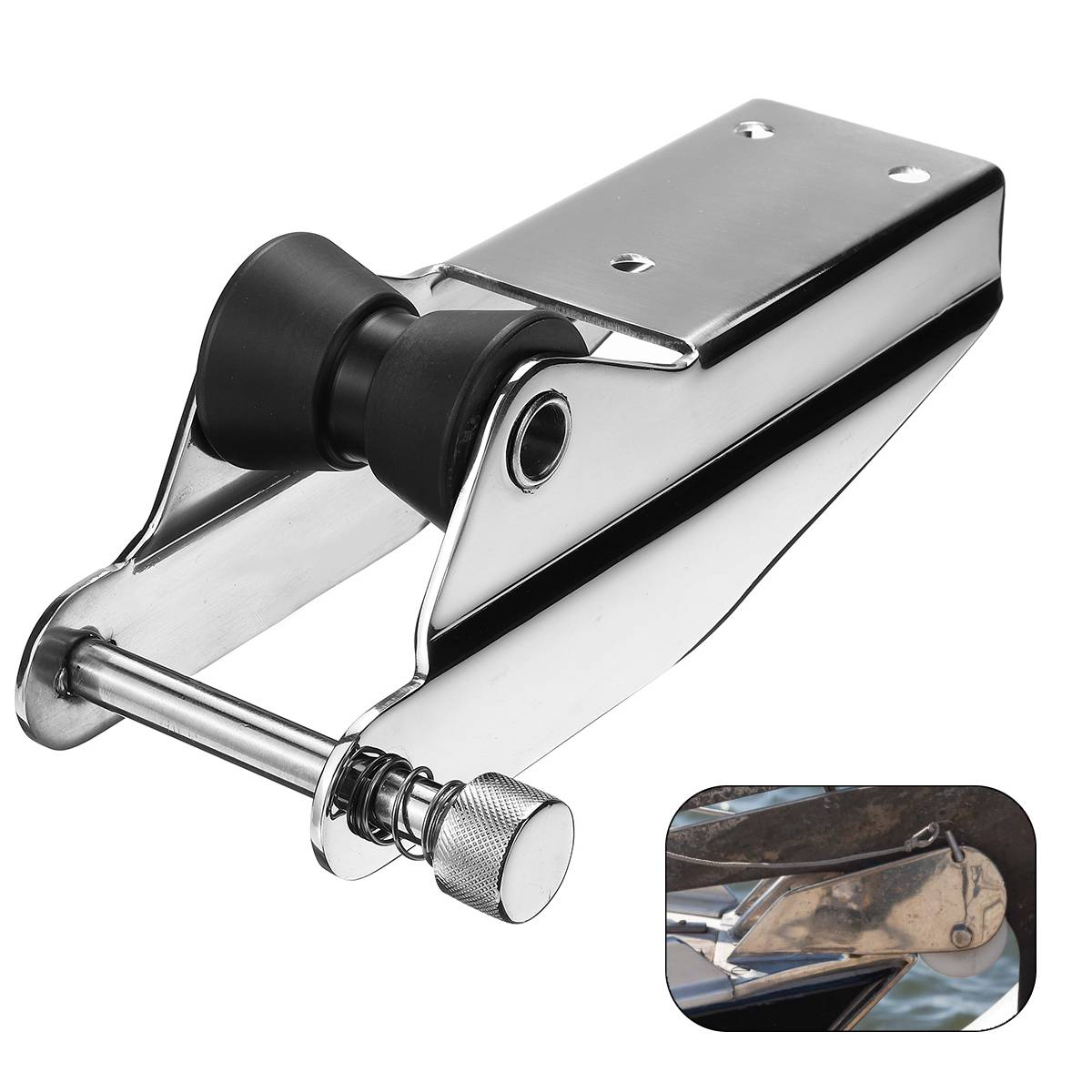 Heavy 316 Stainless Steel Bow Anchor Roller For Fixed Marine Boat Docking Black Nylon Roller Spring Loaded Pin Prevent