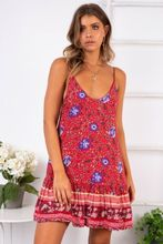Bohemian Stylish Women Sleeveless Wrap Off Shoulder Floral Mini Dress Sexy Ladies Summer Sundress Holiday dress stylish plunging neck sleeveless checked women s mini dress