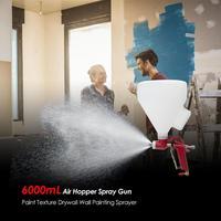 Alloet 6000mL Air Hopper Spray Gun Paint Texture Drywall Wall Painting Sprayer Spraying Tool 4mm/0.15'' 6mm/0.23'' 8mm/0.31