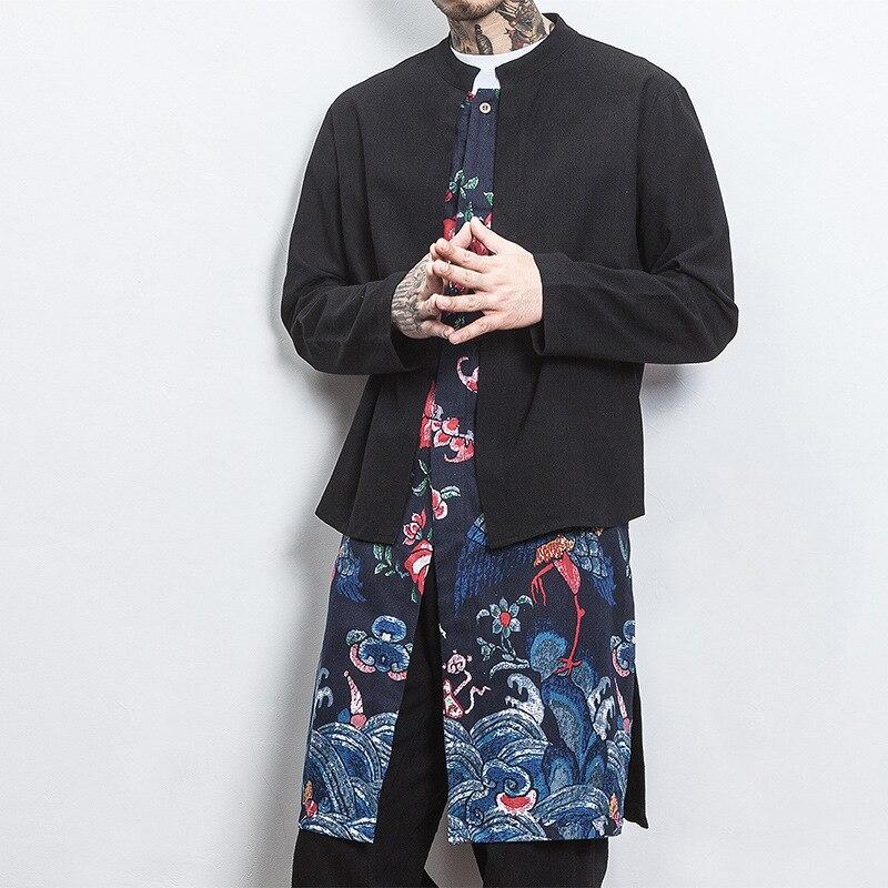 #4339 Round Neck Vintage Fake Two Piece Single Button Cotton Linen Coats Vintage Chinese Plus Size 5XL Kimono Jacket Mens