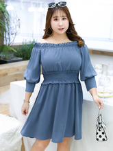 MINSUNDA Plus Size Elegant Off Shoulder Frill Trim Party Dress Women Elastic Waist Mini Dresses Ruffle Solid A Line Dress