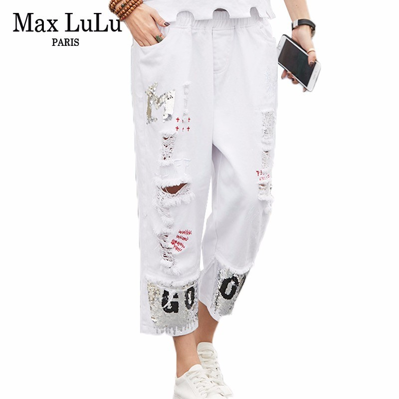 Max LuLu Luxury Korean Style Summer Ladies Holes Trousers Women Printed White Jeans Sequins Female Vintage