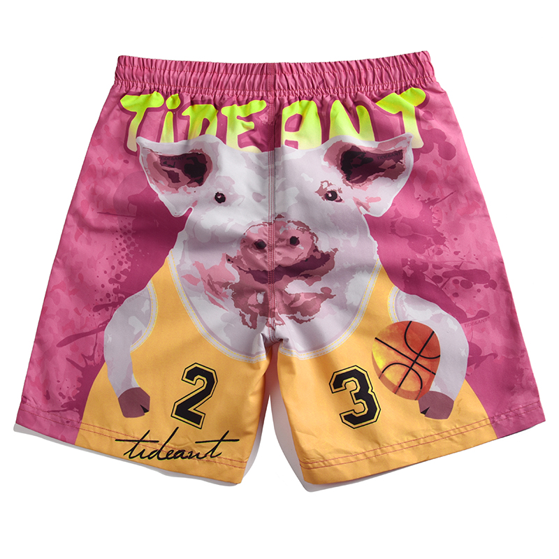 Men's Cute Basketball Pig Printed   Board     Shorts   Drifting   Short   Pants Man Beach   Shorts   Pink Swim Wear Beach Pants M-4XL Plus Size