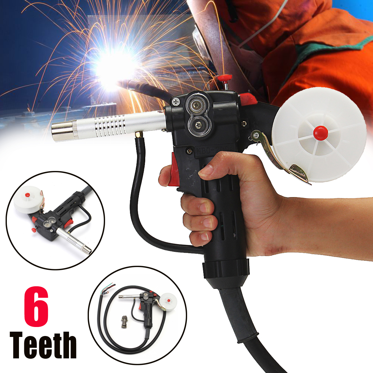 6 Feet MIG Welding Spool Gun Push Pull Feeder Aluminum Steel Welding Torch +2m Wire Cable