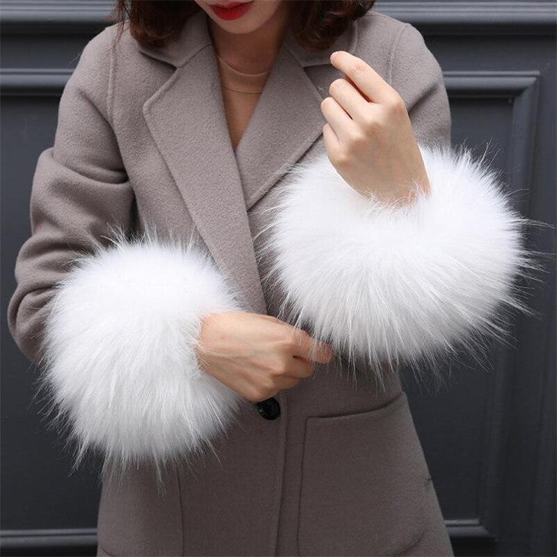 Armstulpen Einfach Frauen Lange Haar Faux Fuchs Pelz Nette Haarigen Herbst Winter Winddicht Arm Wärmer Damen Jacquard Warme Armband W109