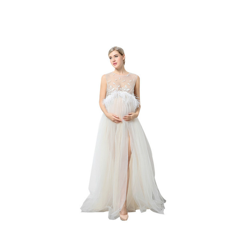 Round Neck Pregnancy Mommy Clothing Wedding White Dress Photography Pregnant  Woman Clothes Maternity Dresse For Photo 39f816c81577