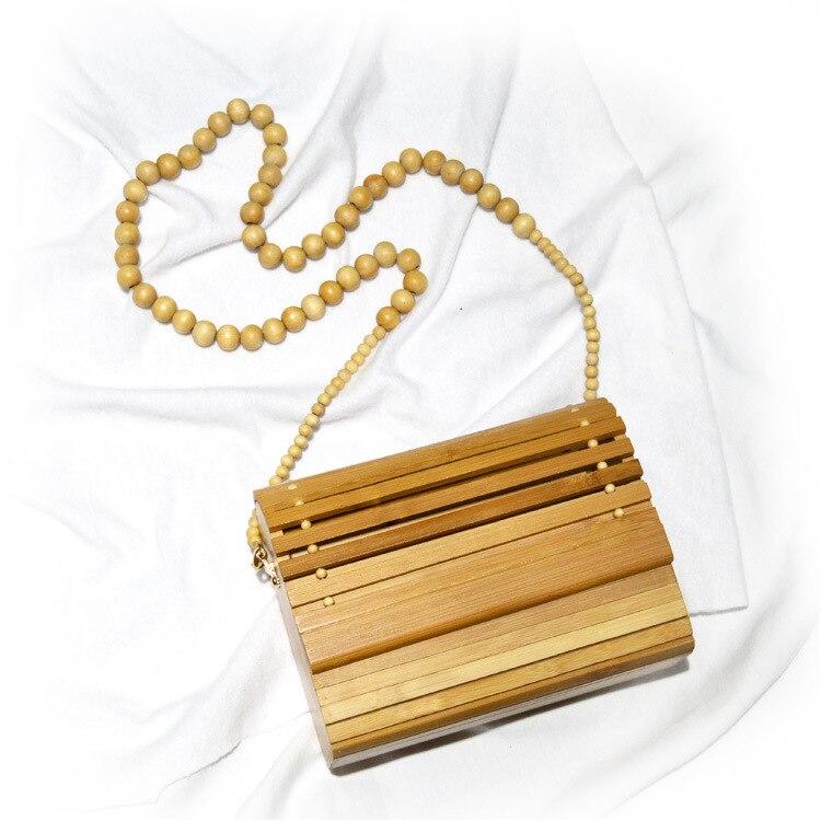 Messenger Bag Women's New Wood Rattan Ladies Handbag Wood Vine Retro Totem Bag Dinner Bag Shoulder Hot Sale Slung Sac A Main|Top-Handle Bags| |  - title=